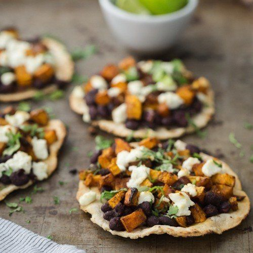 Black Bean Tostadas with Chipotle Butternut Squash | http://naturallyella.com
