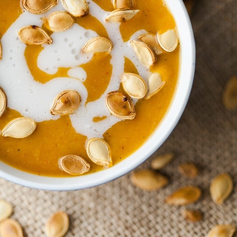 Curried Pumpkin Soup with Coconut | http://naturallyella.com