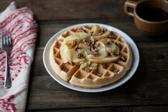 Brown Butter Waffles With Honey Apples And Pecans