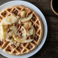 Brown Butter Waffles with Honey-Apples and Pecans