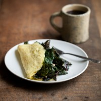 Garlicky Greens and Goat Cheese Omelette