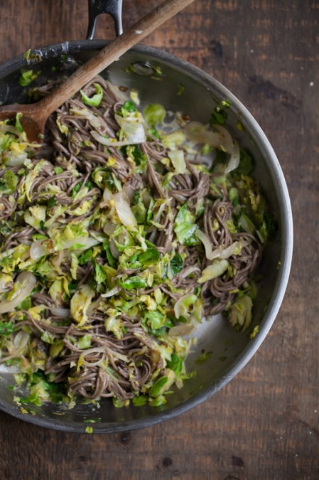 Shaved Brussels Sprouts and Soba Noodles with Ginger-Honey Sauce