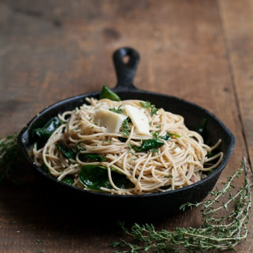 Garlic-Butter Pasta with Spinach and Parmesan