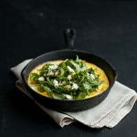 Roasted Pumpkin Frittata with Goat Cheese and Arugula Salad