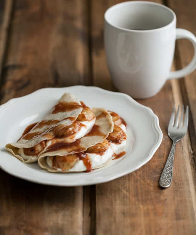 Barley Crepes with Yogurt and Cinnamon-Honey Bananas