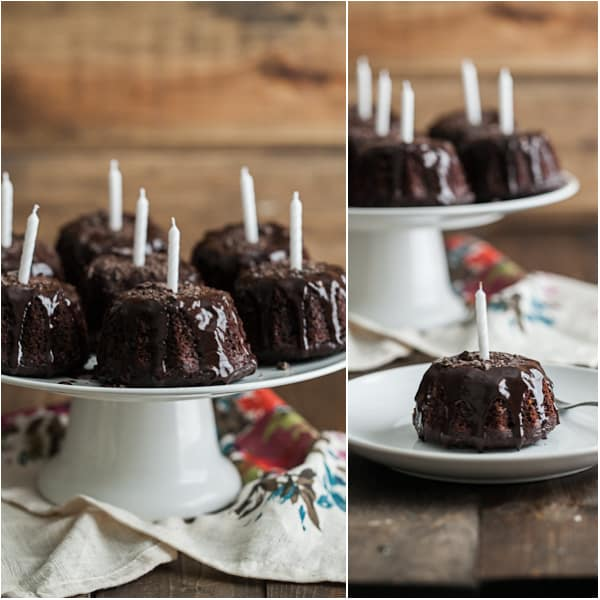 Mini Espresso Bundt Cakes with Dark Chocolate Ganache