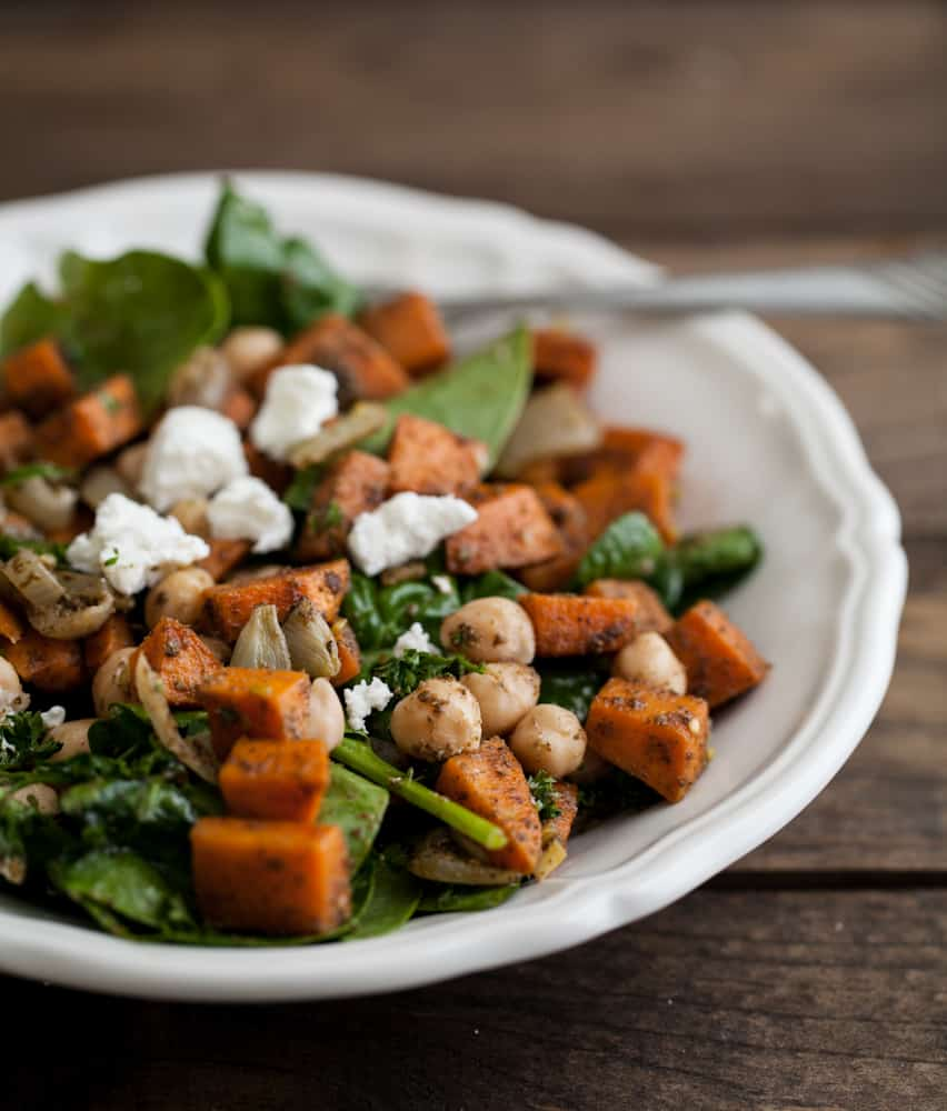 Za'atar Roasted Sweet Potato, Chickpea, and Spinach Salad