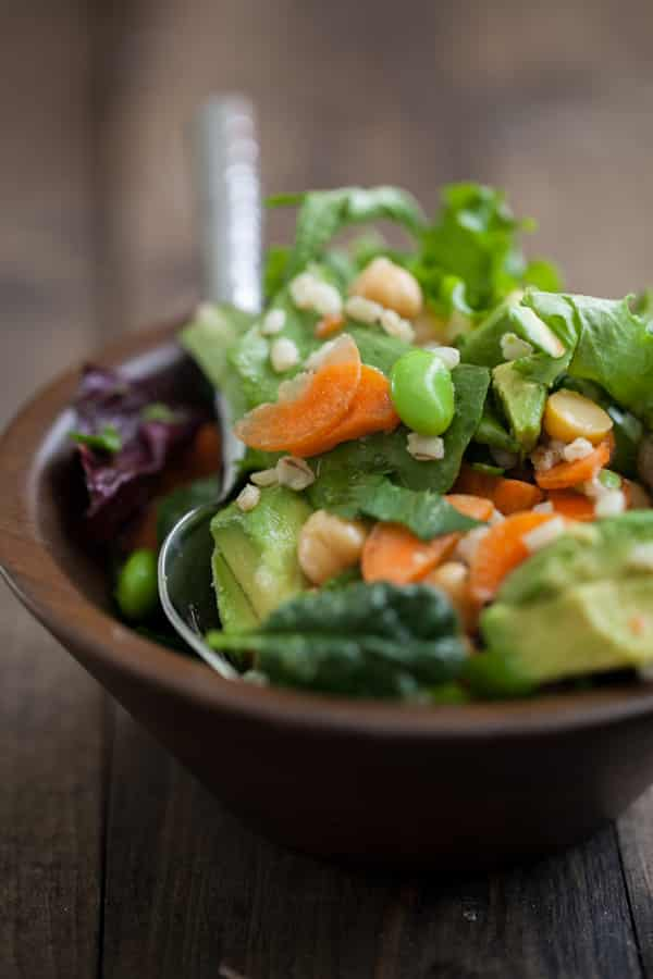 Edamame, Carrot, and Goat Cheese Salad with Cilantro-Lime Dressing