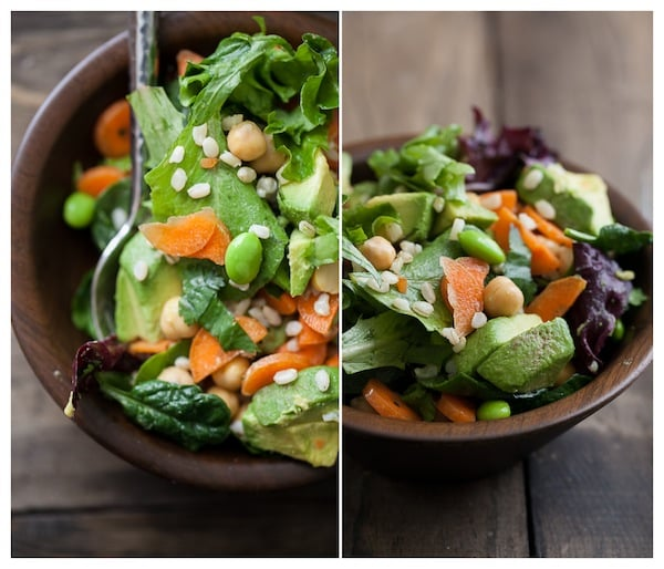 Edamame, Carrot, and Goat Cheese Salad with Cilantro-Lime Dressing | Naturally Ella
