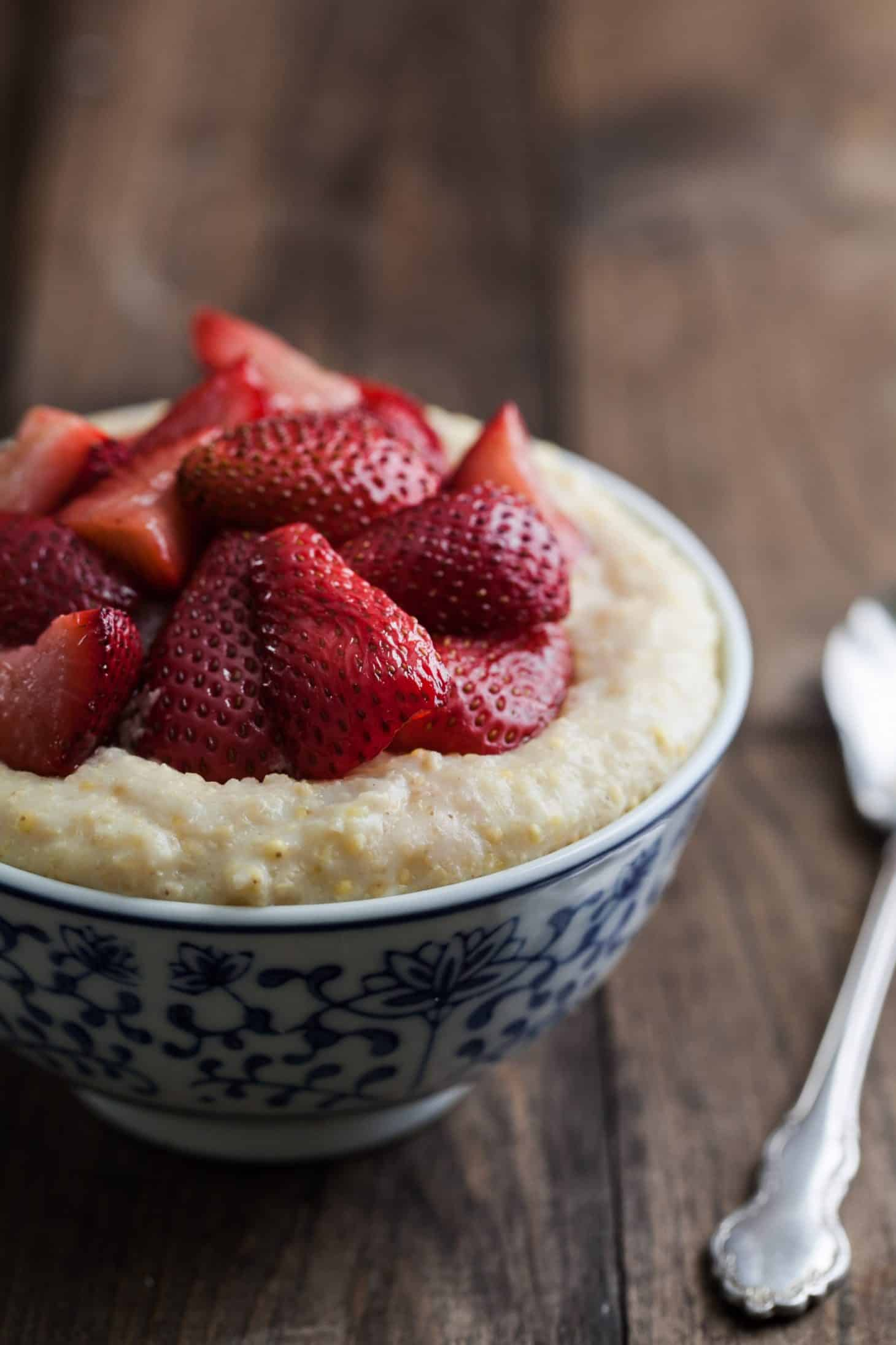 Millet Porridge with Roasted Strawberries