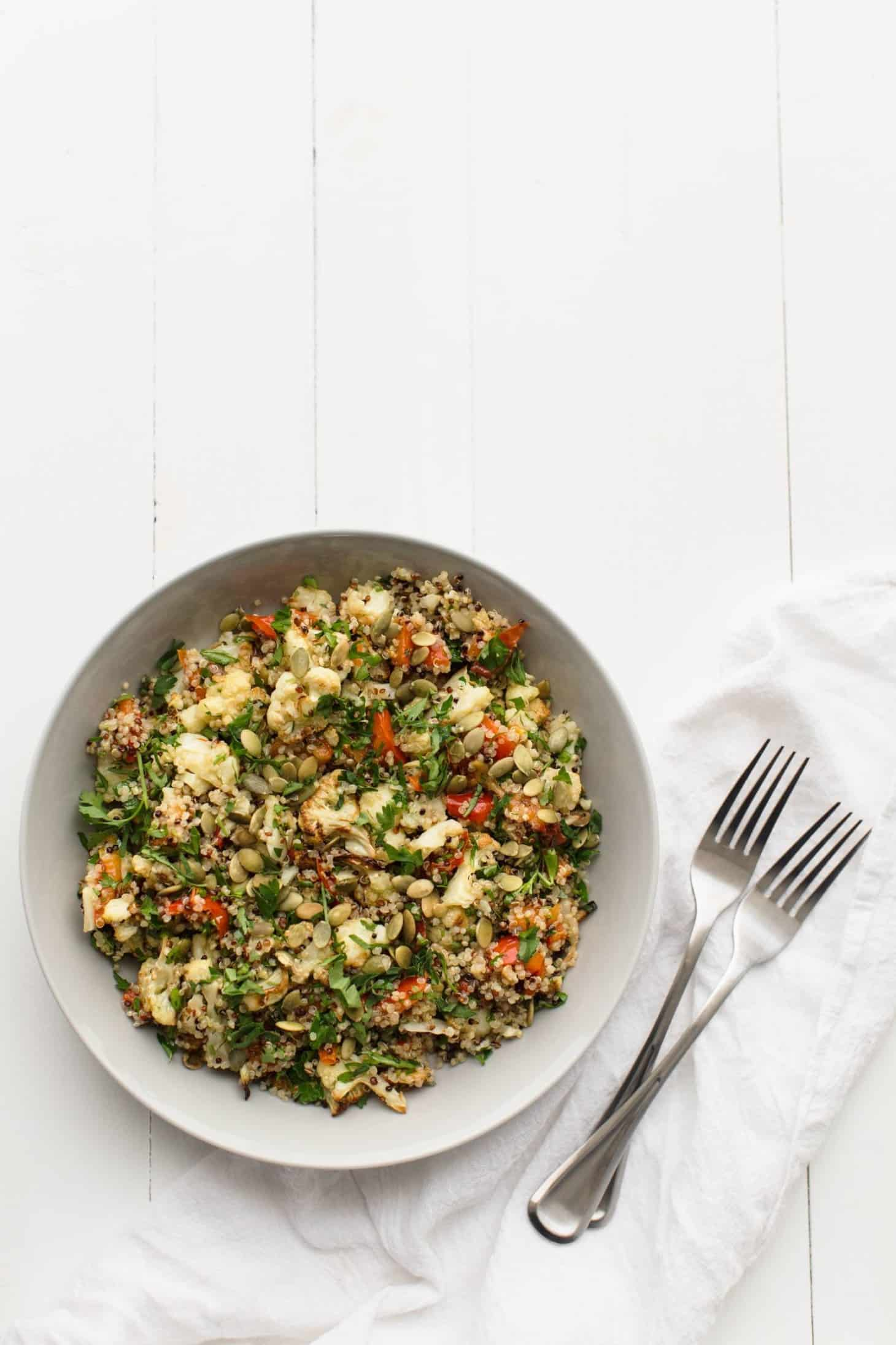 Caramelized Cauliflower Salad with Quinoa