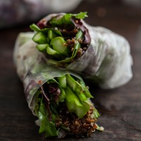 Grilled Asparagus and Chili-Orange Quinoa Spring Rolls