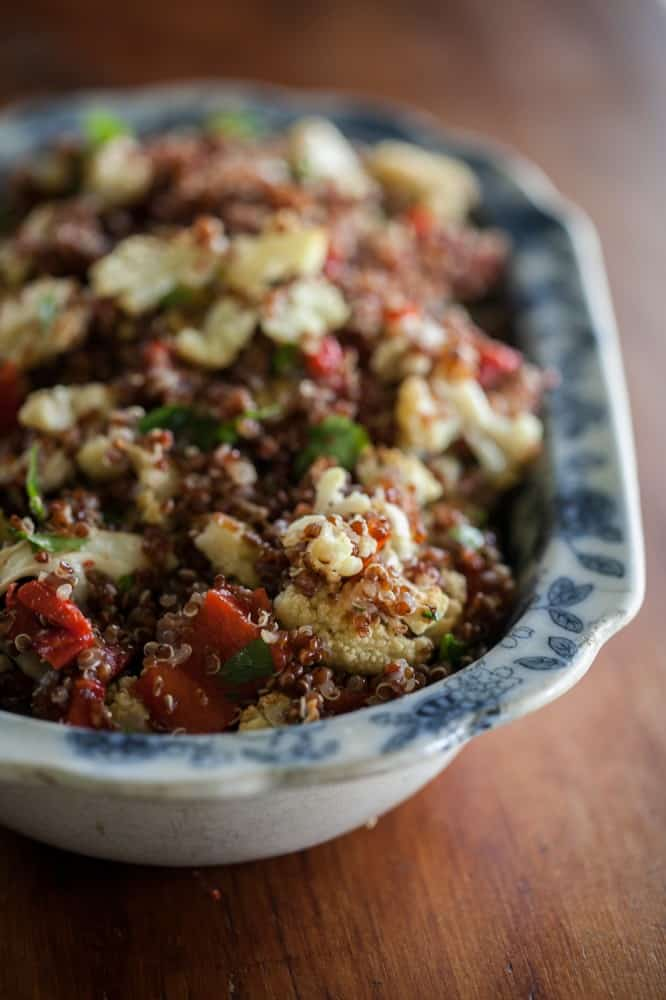 Caramelized Cauliflower, Roasted Red Pepper, and Quinoa Salad