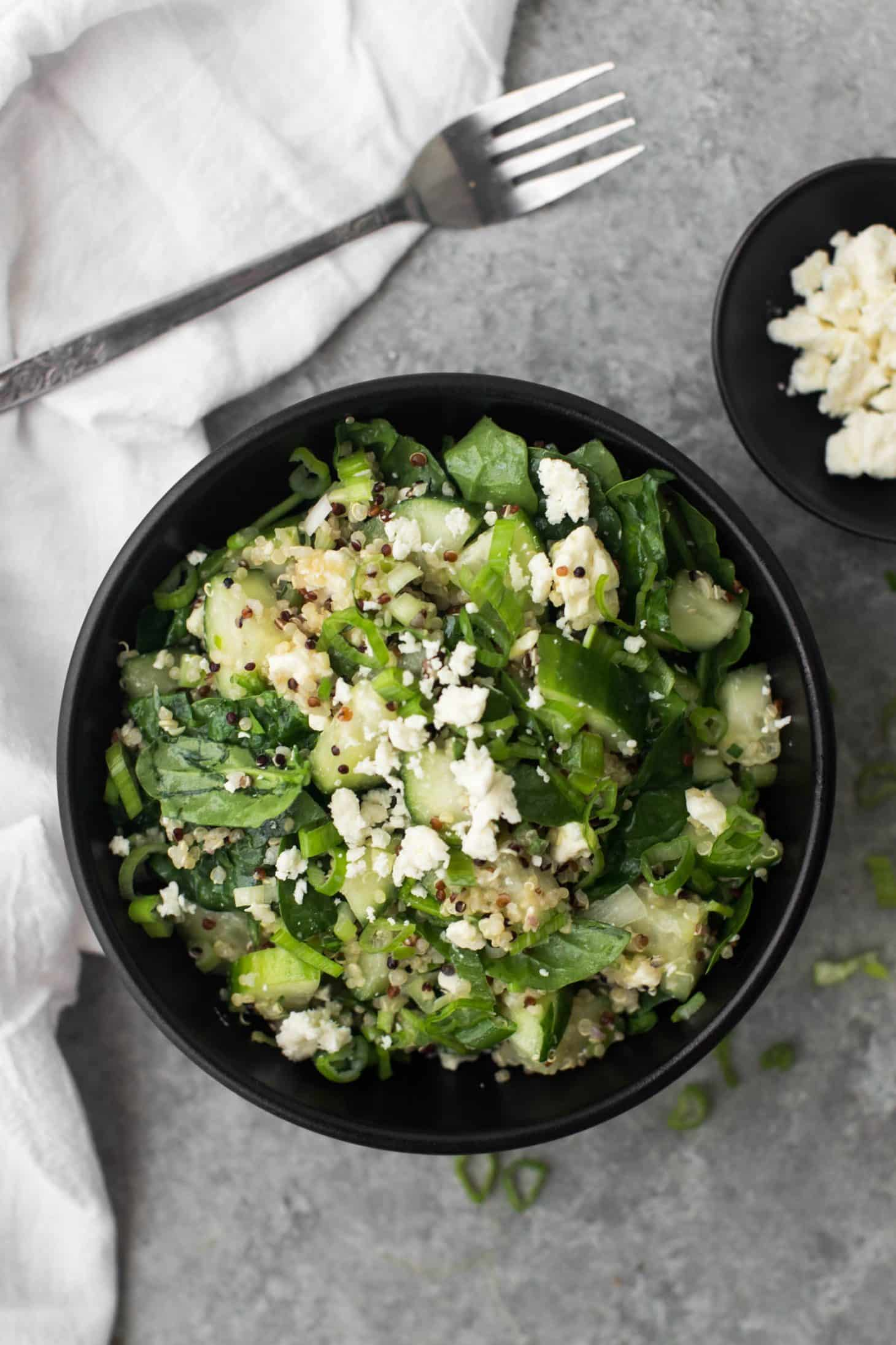 Cucumber Quinoa Salad with Feta- @naturallyella