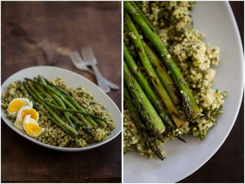 Pesto Millet, Asparagus, and Soft Boiled Eggs