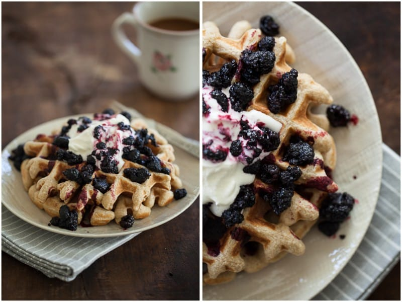 Rye Waffles with Black Raspberry Sauce