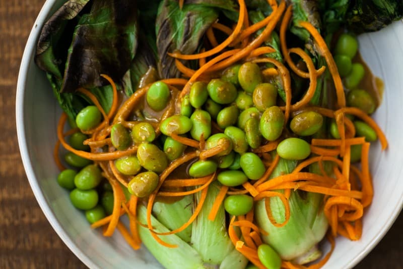 Grilled Baby Bok Choy, Carrot, and Edamame Salad with Mustard-Tamari Dressing