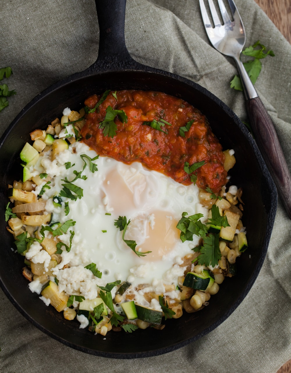 Zucchini and Sweet Corn Hash Egg Skillet