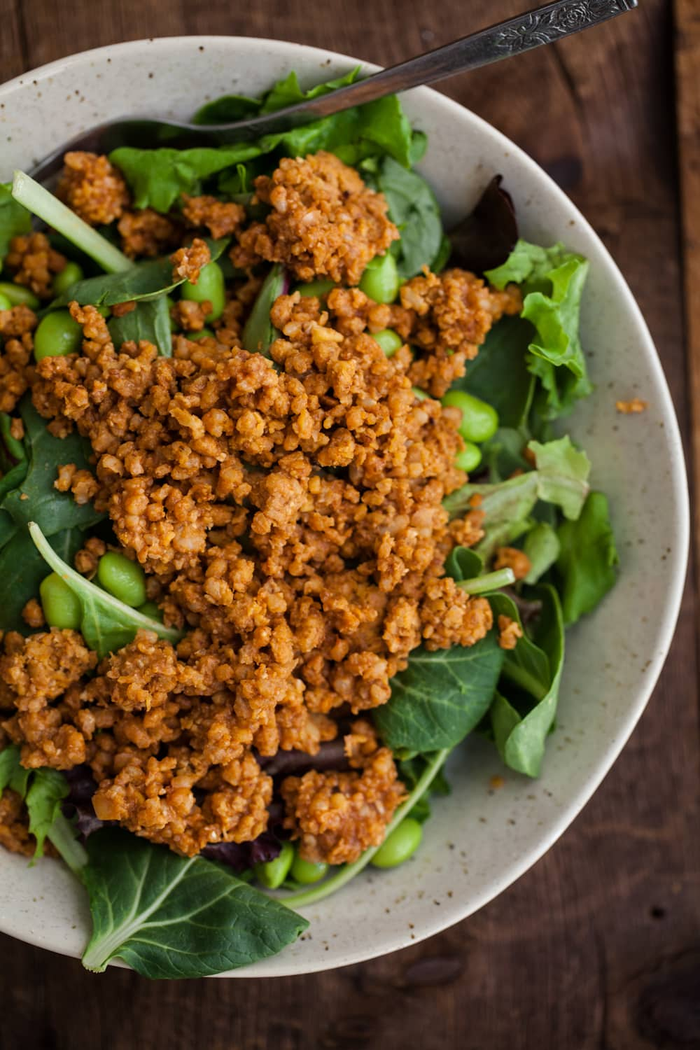 Buffalo Chickpea Crumble Salad | @naturallyella