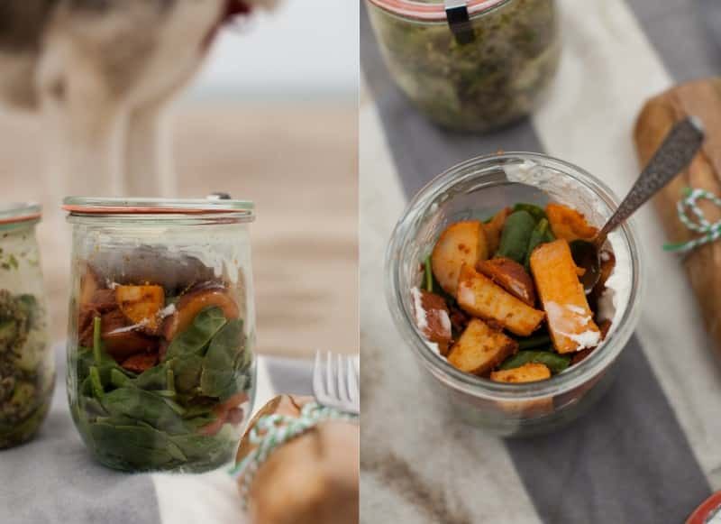 Smoked Paprika Red Potatoes and Spinach Salad with Homemade Blue Cheese