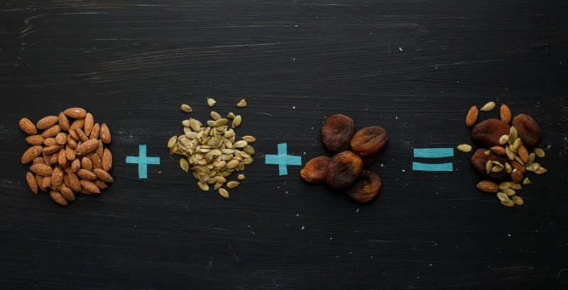 Dried Almonds + Sprouted Pumpkin Seeds + Dried Apricots