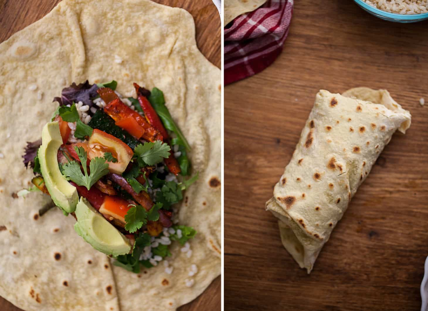 Spiced Zucchini + Rice Burrito with Homemade Einkorn Flour Tortillas