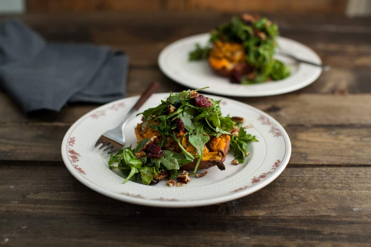 Twice Baked Quinoa Sweet Potato with Maple-Mustard Arugula Salad