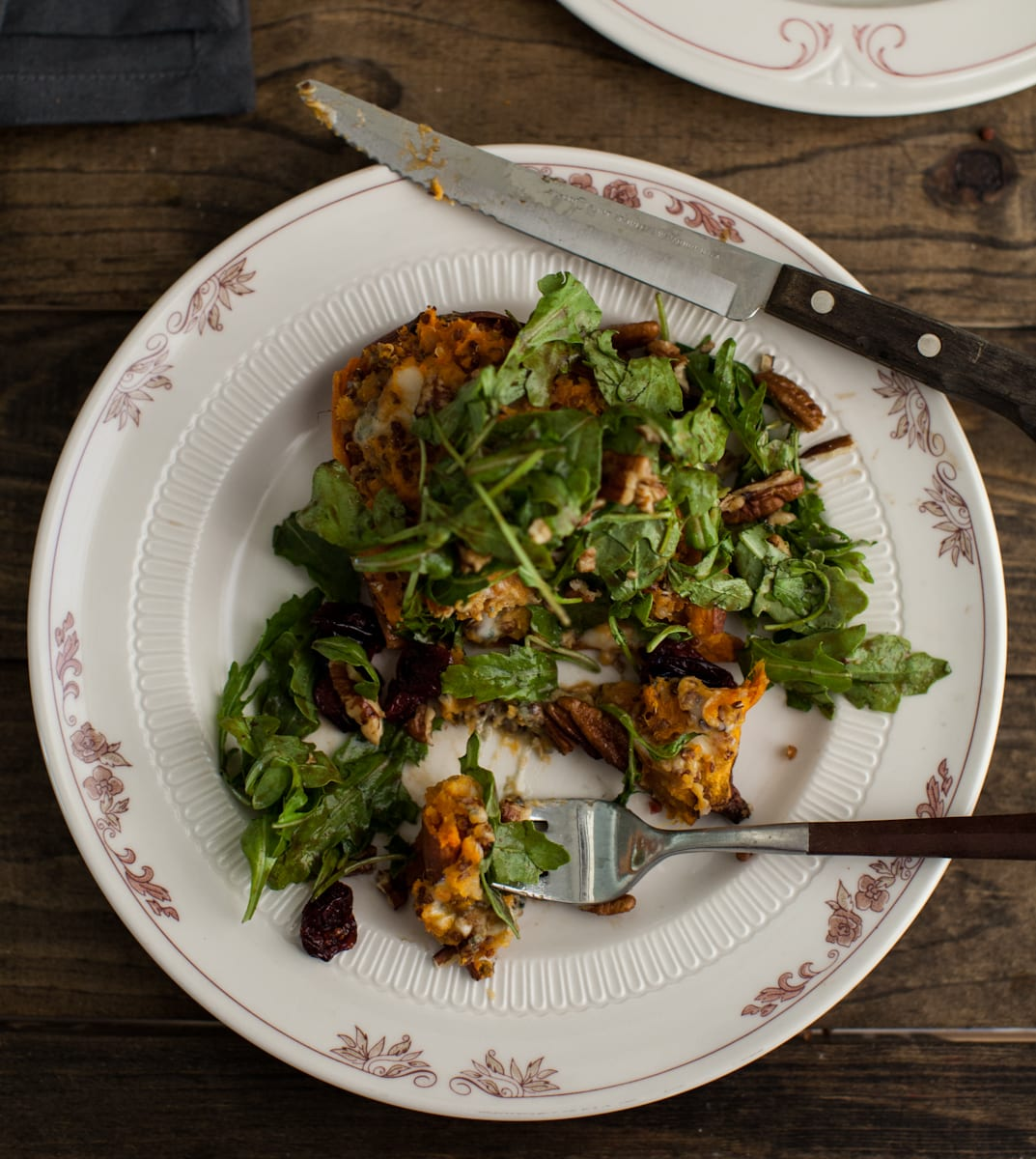 Twice Baked Blue Cheese Sweet Potato with Maple-Mustard Arugula Salad