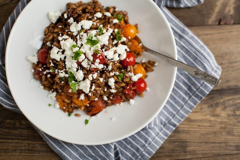 Herbed Burst Tomatoes, Goat Cheese, and Farro (+ Patio Garden Update)