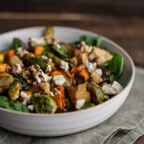 Roasted Sweet Potato and Brussels Sprout Cornbread Panzanella Salad with Blue Cheese and a Maple Mustard Vinaigrette