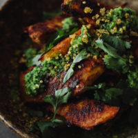 Adobo Acorn Squash, Crispy Quinoa, and Chimichurri