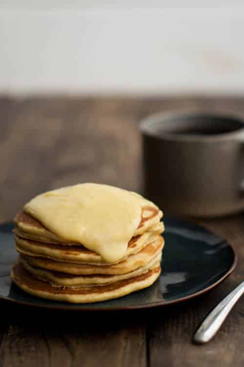 Cornbread Pancakes with Maple-Lemon Curd