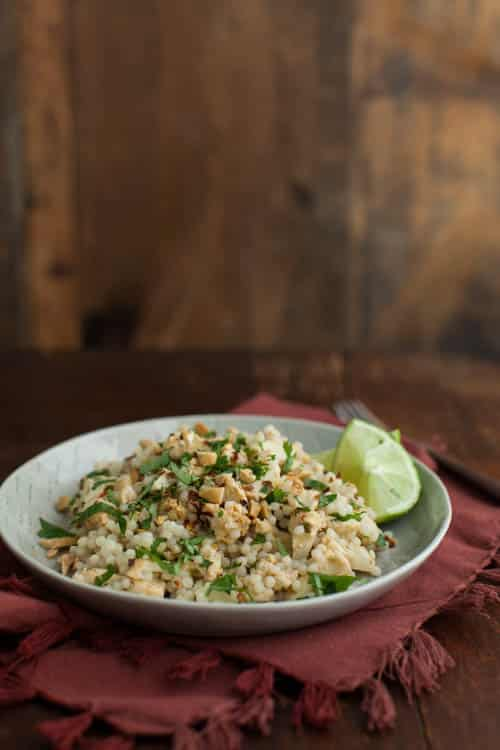 Roasted Thai Cauliflower with Pearl Couscous with Peanuts
