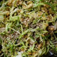 Shaved Brussels Sprout Salad with Einkorn and Soy-Mustard Dressing