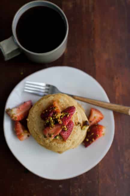 Wheat Pancakes with Strawberry-Pistachio Topping