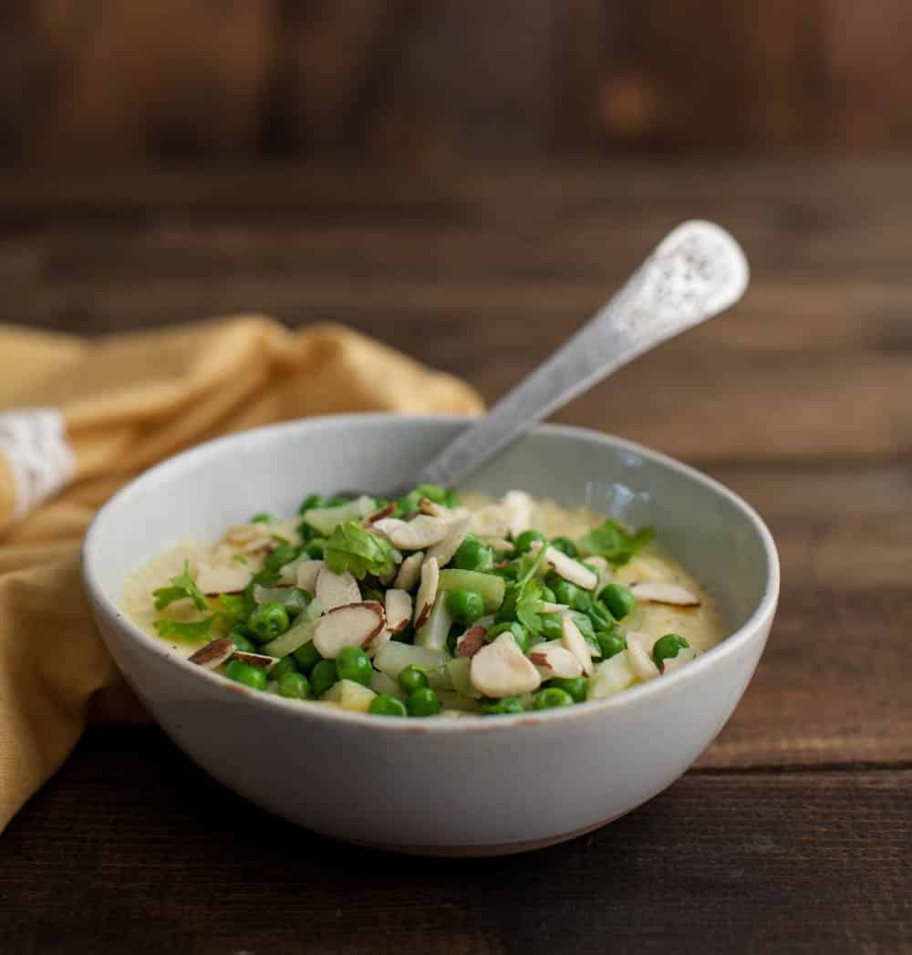 Polenta with Peas, Fennel, and Almonds