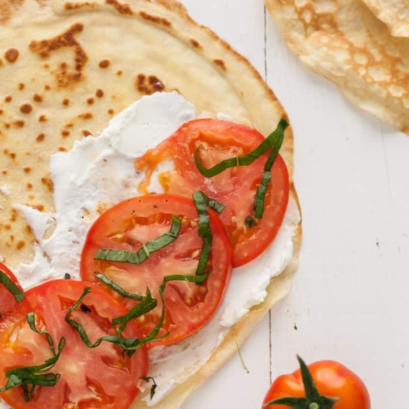 Gluten Free Oat Crepes with Tomatoes, Basil, and Goat Cheese