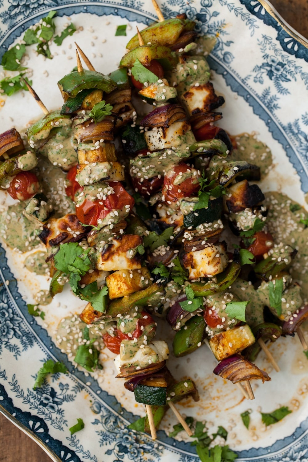 Grilled Halloumi Skewers with Cilantro-Tahini Sauce