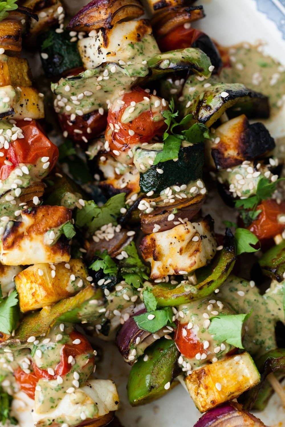 Grilled Halloumi Skewers with Cilantro-Tahini Sauce | Vegetarian Grilling Recipes
