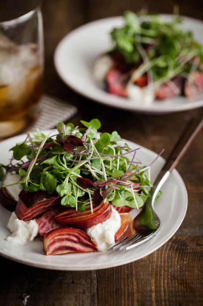 Roasted Beets and Burrata, with Micro Greens