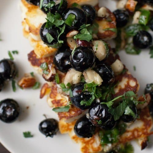 Grilled Halloumi with Blueberries and Herbs from Vibrant Food