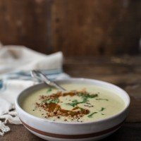 Sweet Corn Soup with Harissa and quinoa