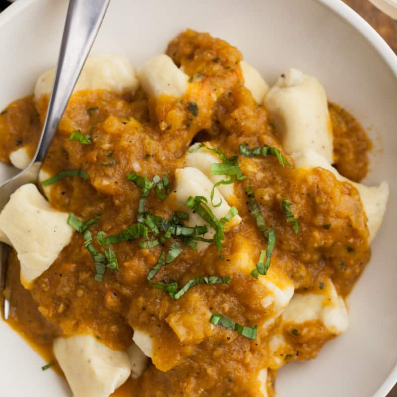 Einkorn Ricotta Gnocchi with Roasted Tomato Sauce
