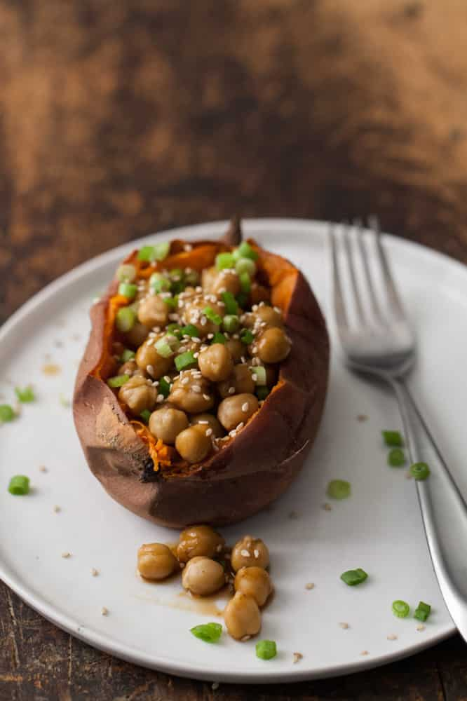 Teriyaki Chickpea Loaded Sweet Potato