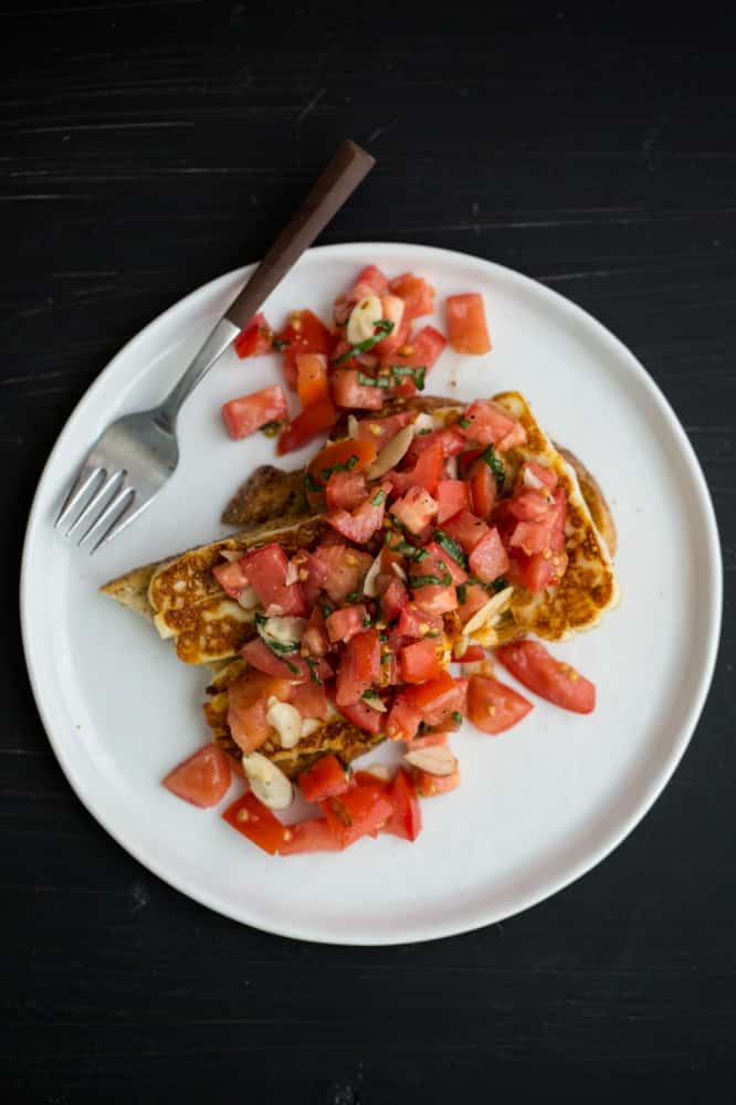 Fried Halloumi Toast with Dry-Farmed Tomato Bruschetta