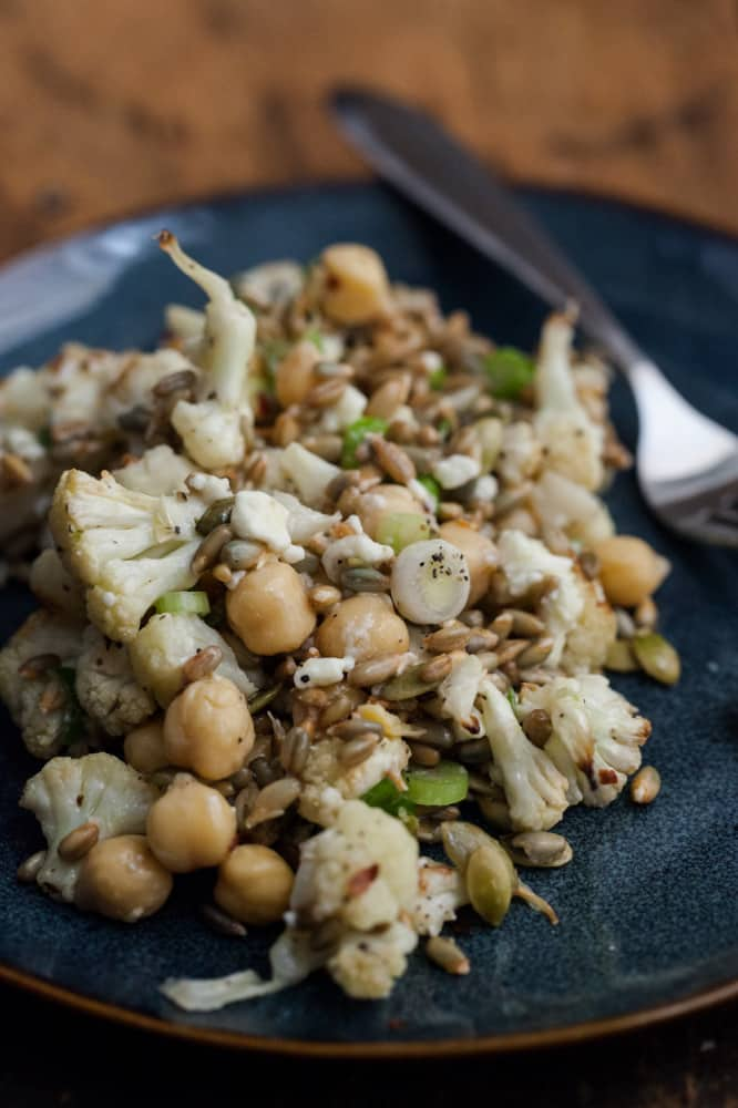 Sprouted Rye, Chickpea and Roasted Cauliflower Bowl | @naturallyella
