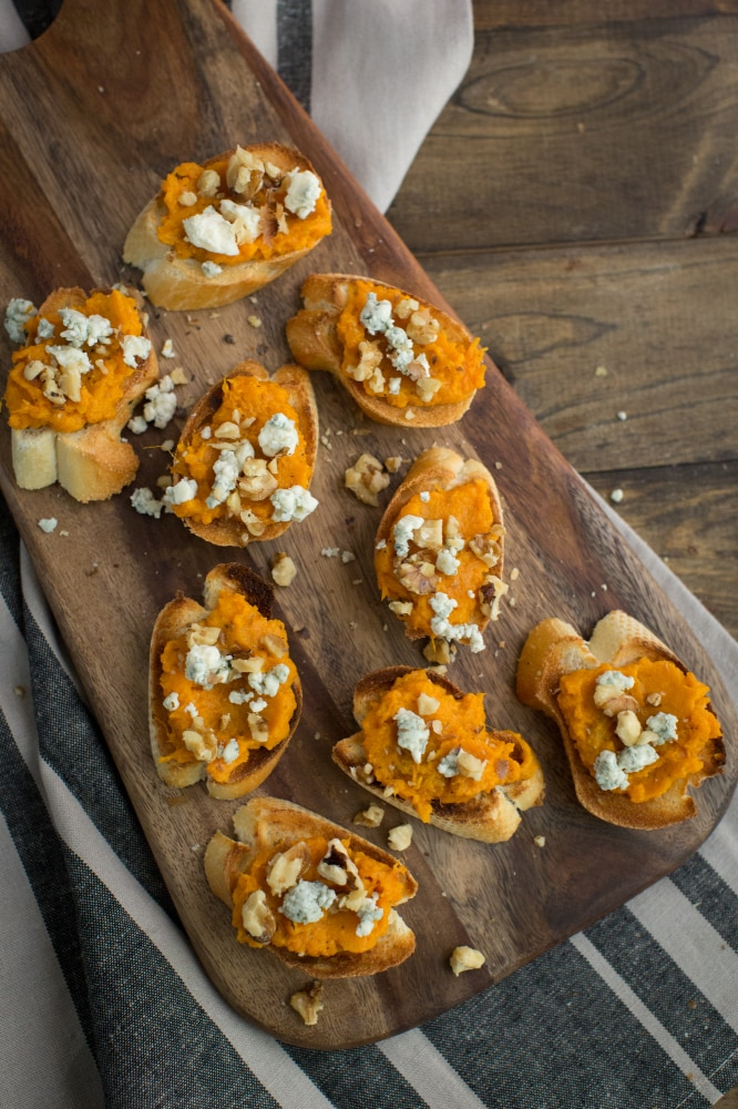 Sweet Potato Crostini with Blue Cheese and Walnuts | Naturally Ella