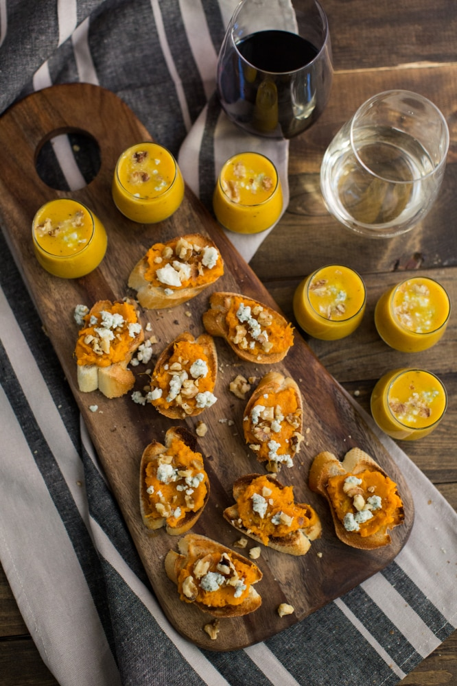 Sweet Potato Crostini and Butternut Squash Soup both with blue cheese and walnuts | Naturally Ella