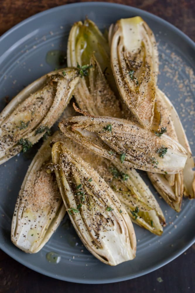 Roasted Endives with Thyme Olive Oil and Bread Crumbs | @naturallyella