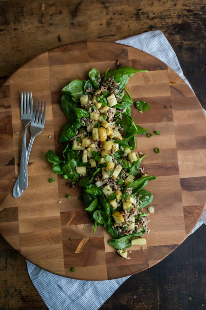 Spinach Salad with Roasted Parsnips and Wild Rice | @naturallyella